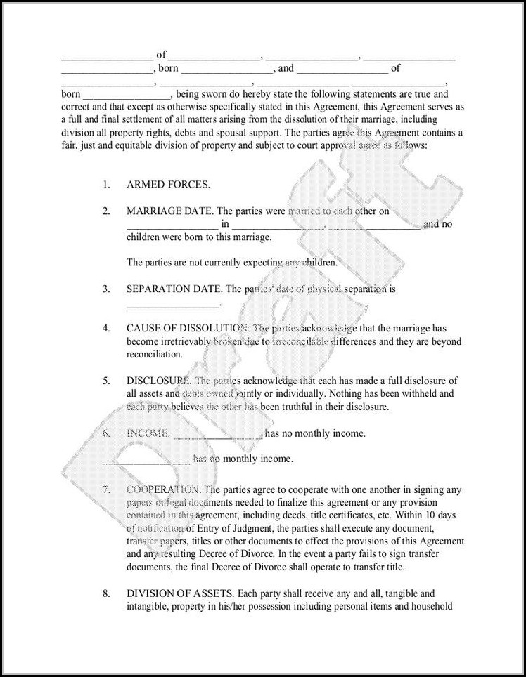 Divorce Settlement Agreement Template Texas