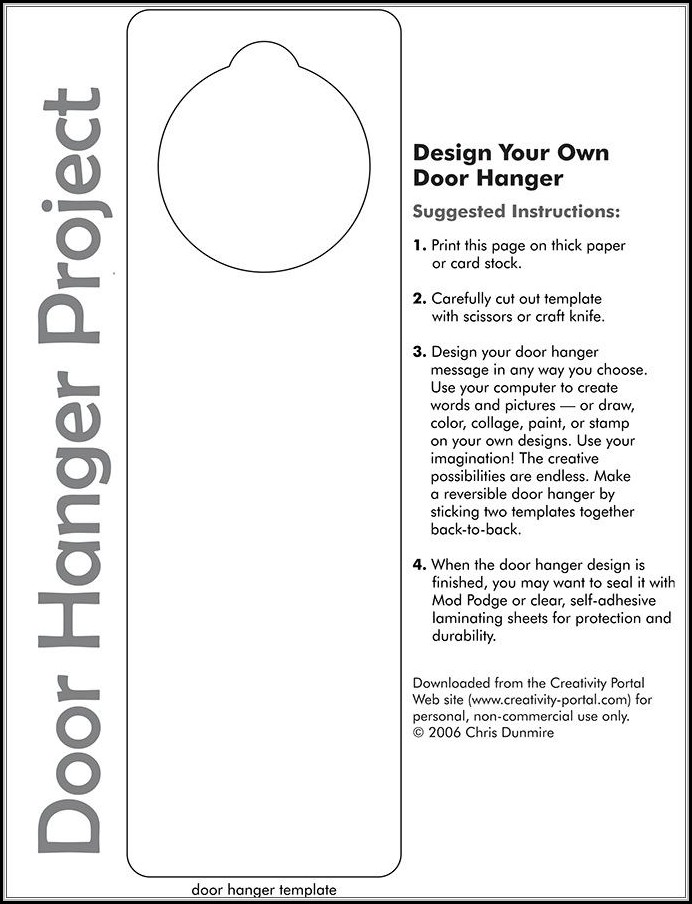 Door Hanger Template For Word