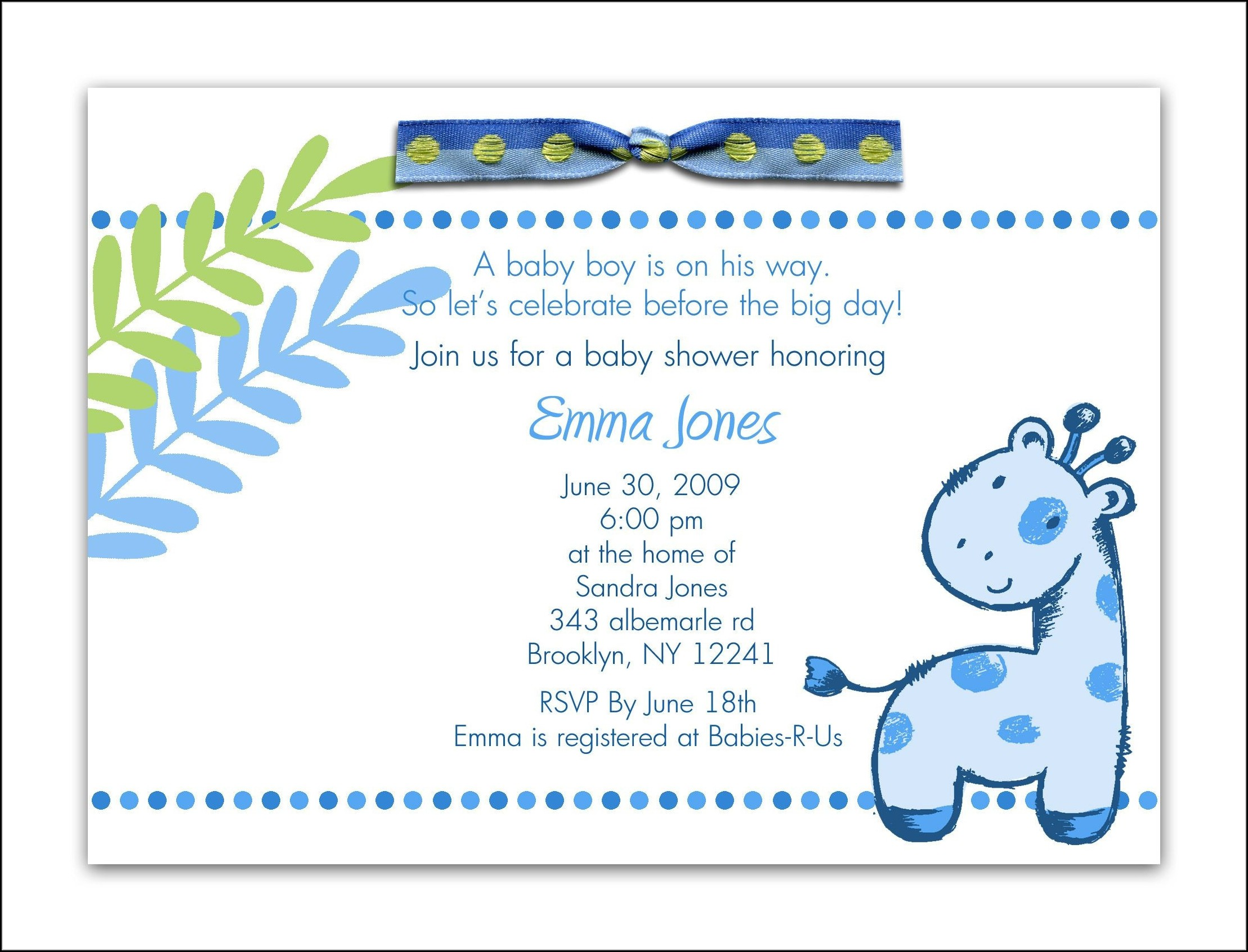 Downloadable Free Printable Baby Shower Invitations Templates For Boys