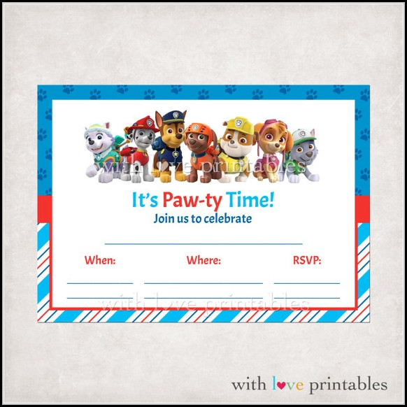 Downloadable Paw Patrol Invitation Template