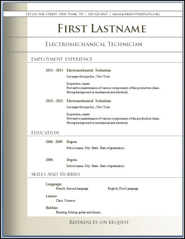 Downloadable Pdf Free Resume Templates