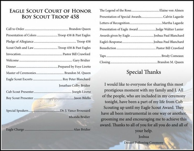 Eagle Scout Ceremony Program Template