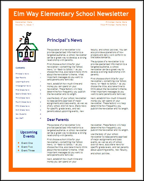 Elementary School Newsletter Templates Free