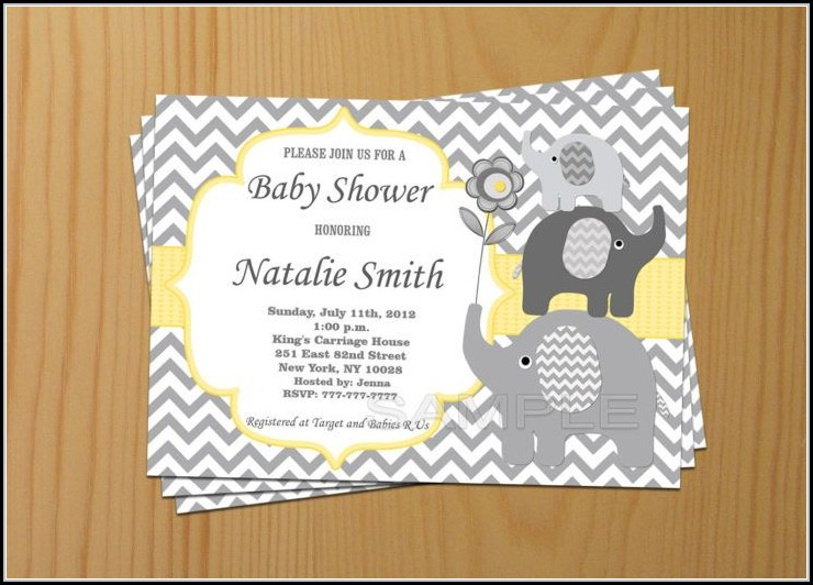 Elephant Baby Shower Invite Template