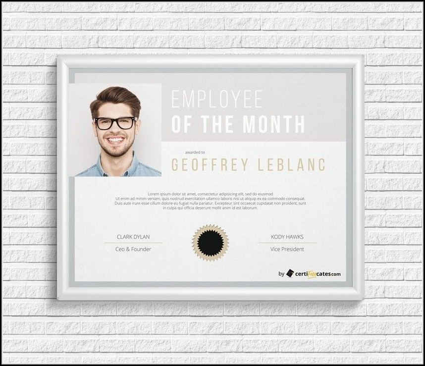Employee Of The Month Certificate Template With Picture