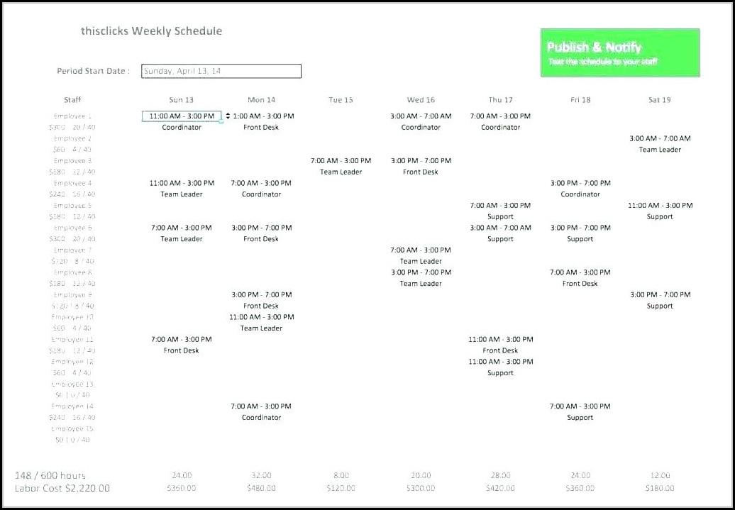 Excel Employee Schedule Template Monthly