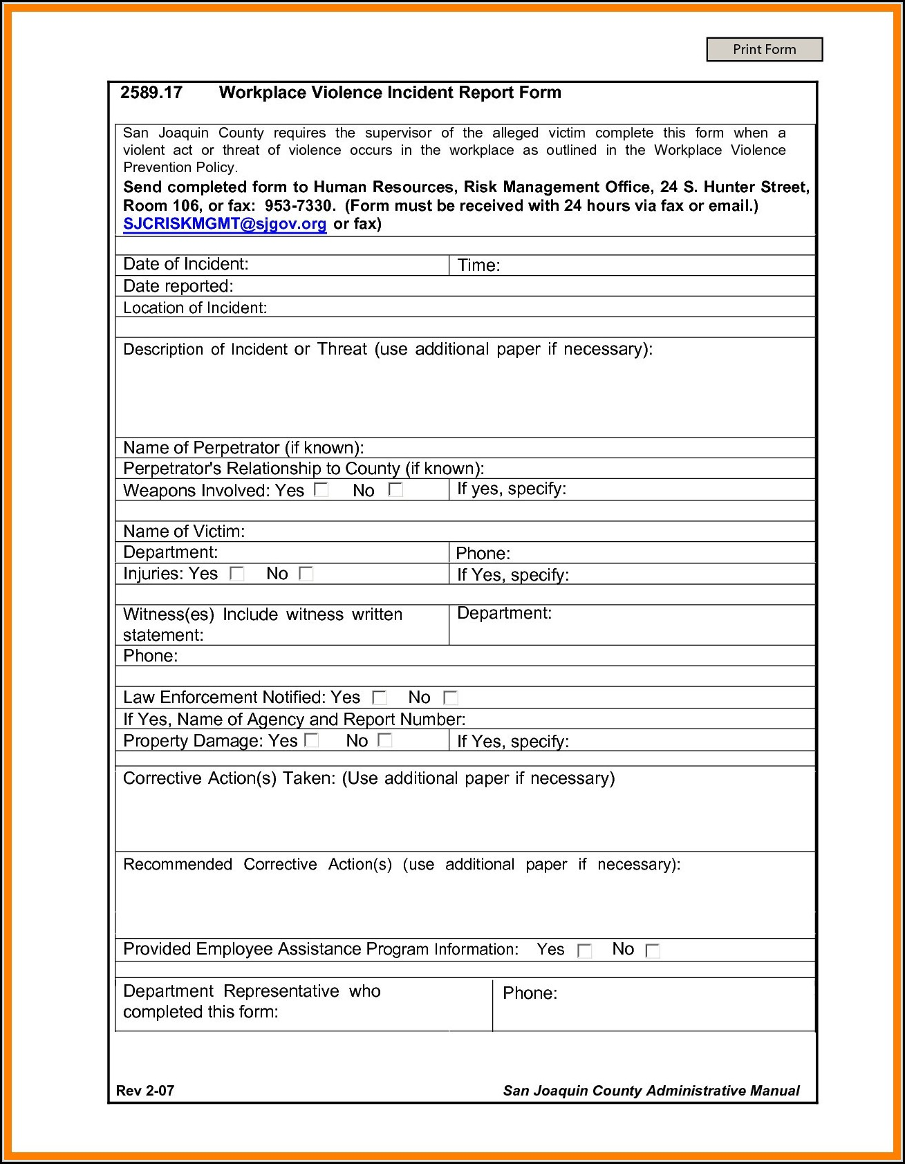 Exposure Incident Report Form Osha