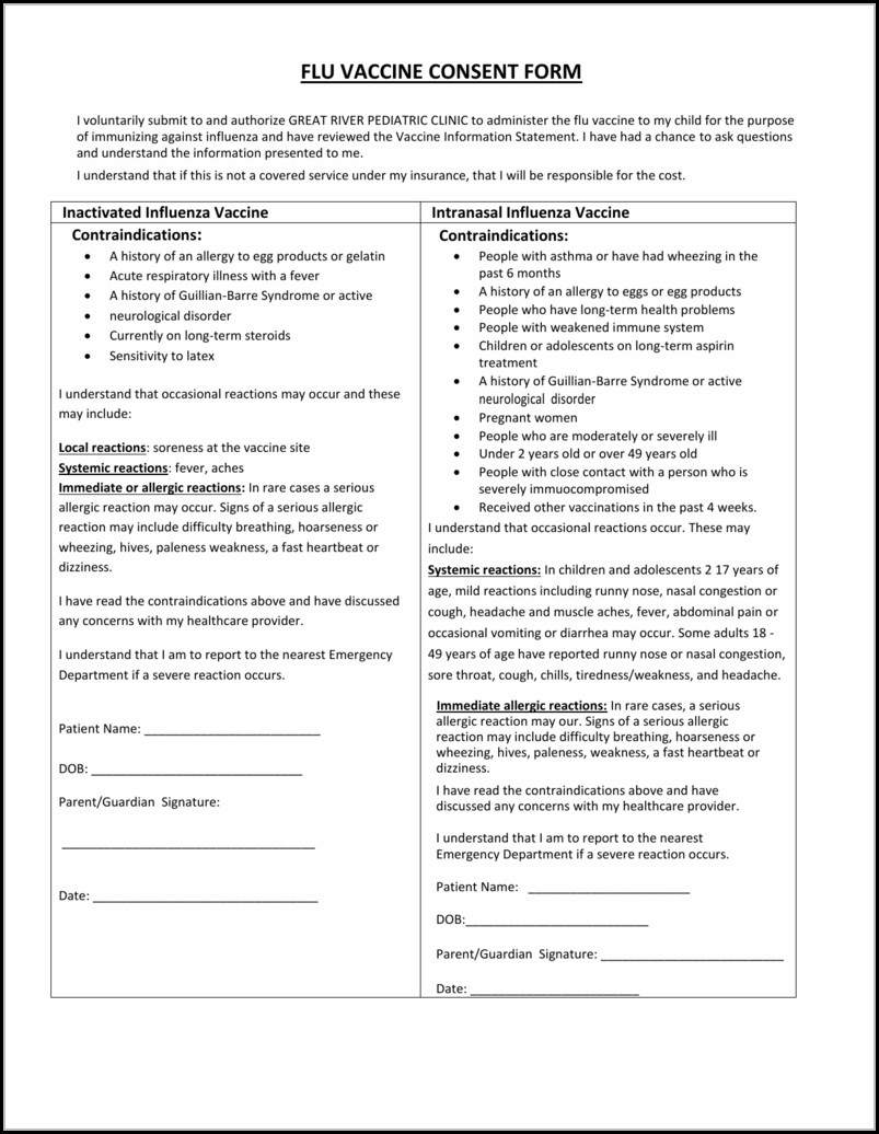 Flu Vaccine Consent Form Template Spanish