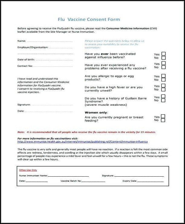 Flu Vaccine Consent Form Template Uk