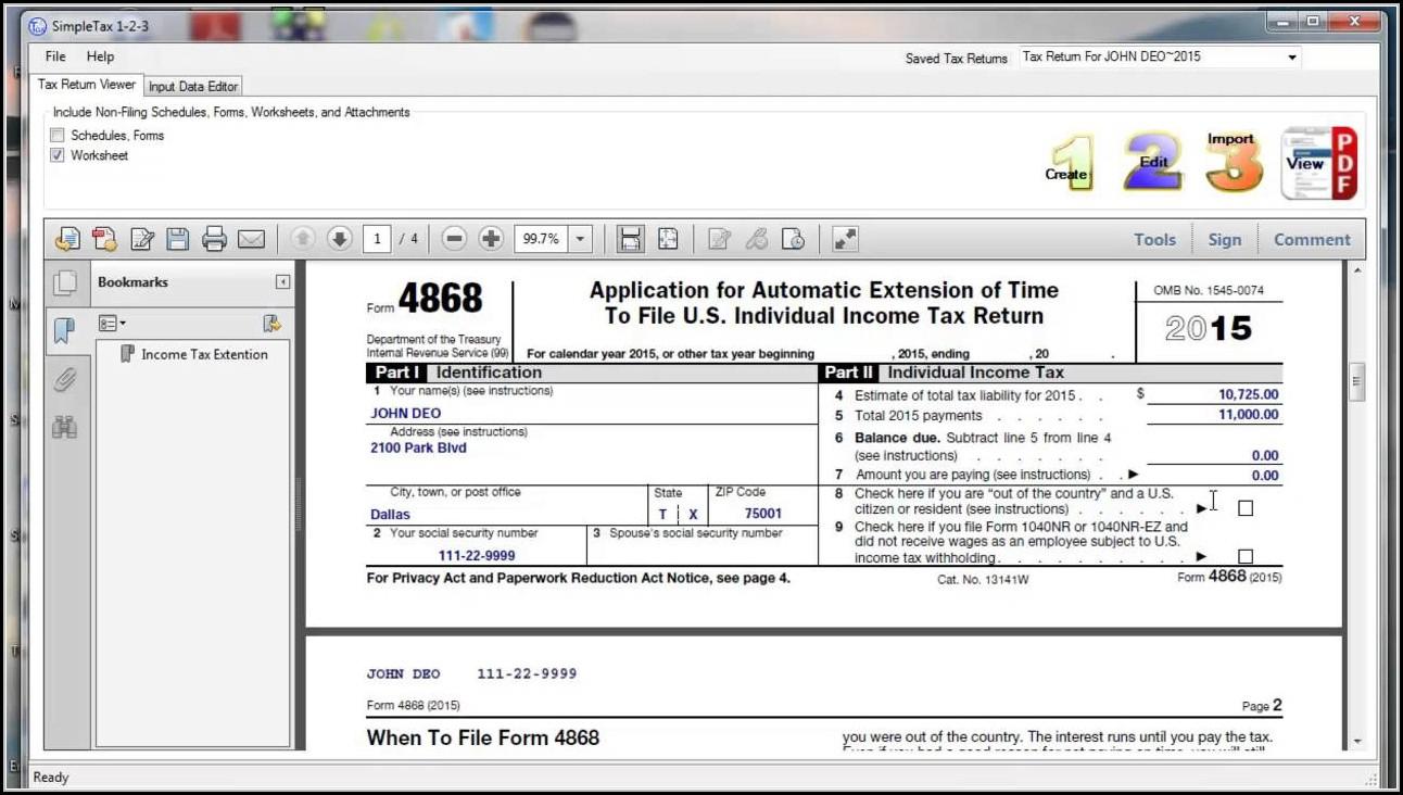 Form 4868 E File
