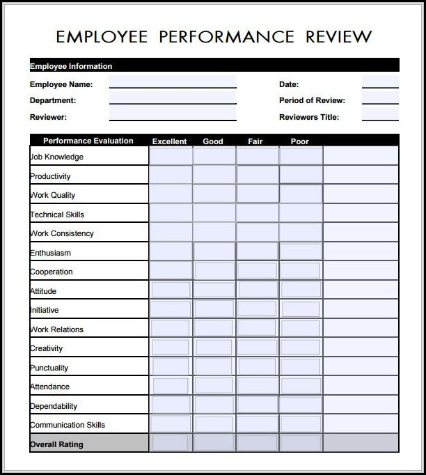 Free Employee Evaluation Form Pdf