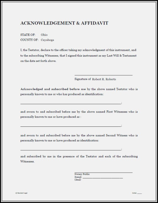 Free Printable Last Will And Testament Blank Forms Florida