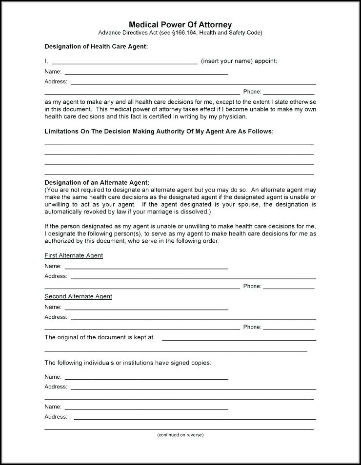Free Printable Power Of Attorney Forms Canada
