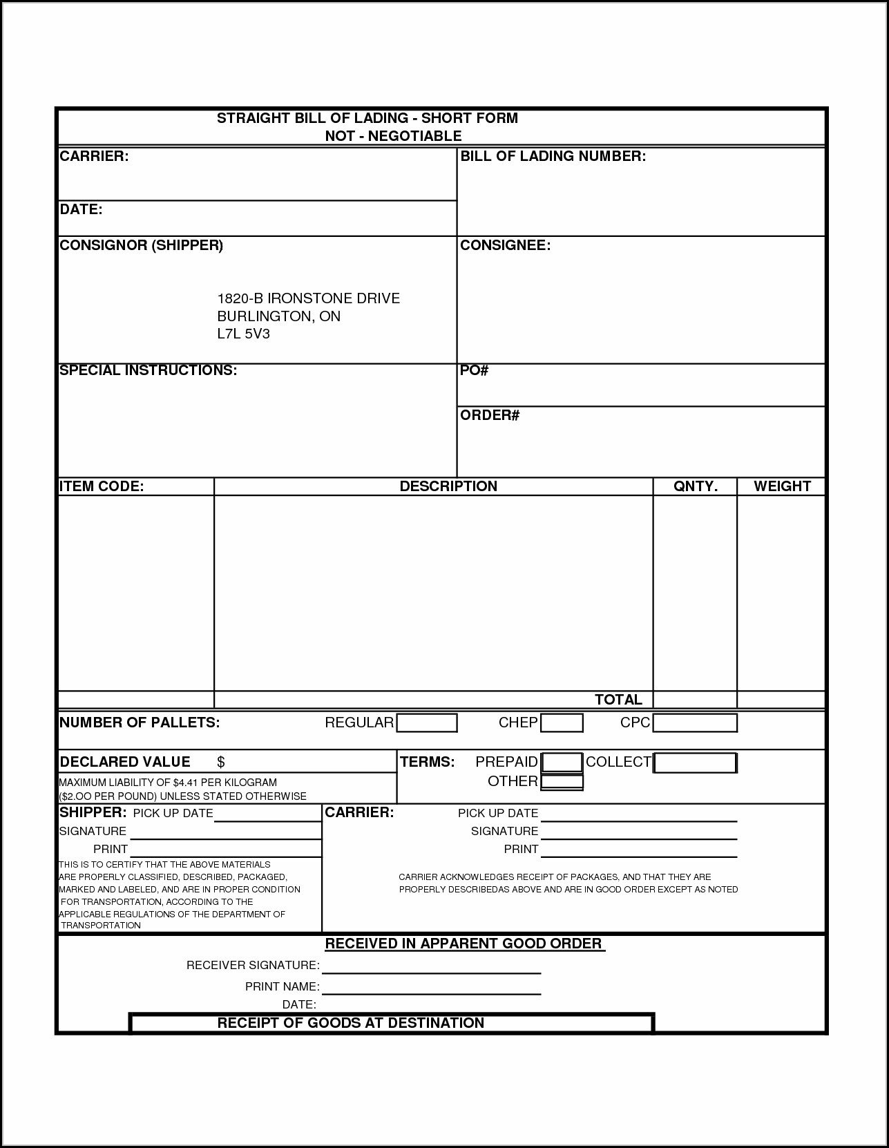 Free Printable Straight Bill Of Lading Short Form