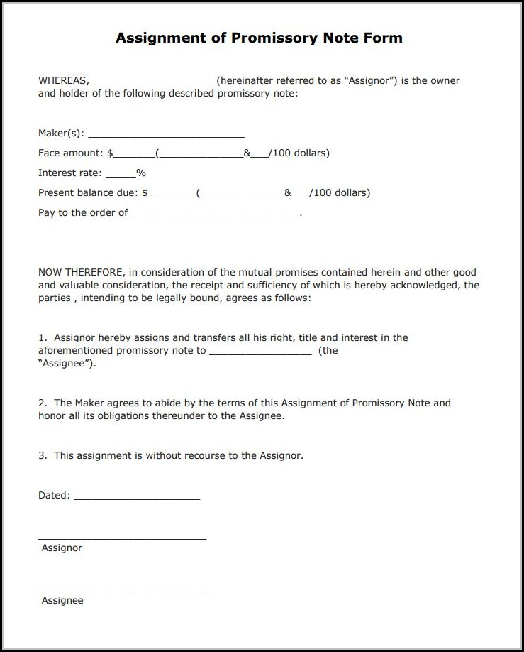 Free Promissory Note Form Download
