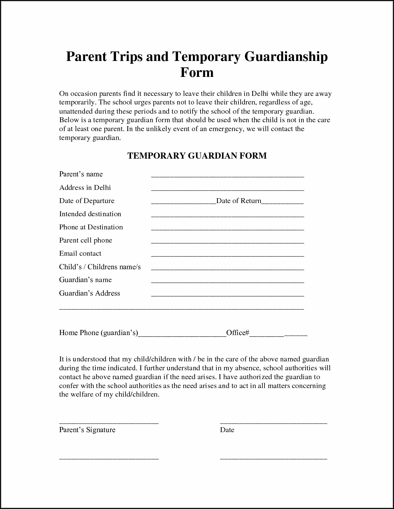 Free Temporary Guardianship Form Florida