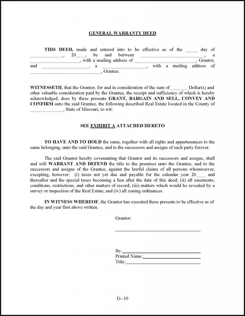 General Warranty Deed Form Missouri