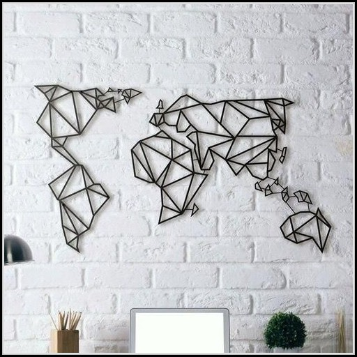 Geometric World Map Wall Art