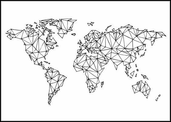 Geometric World Map Wallpaper