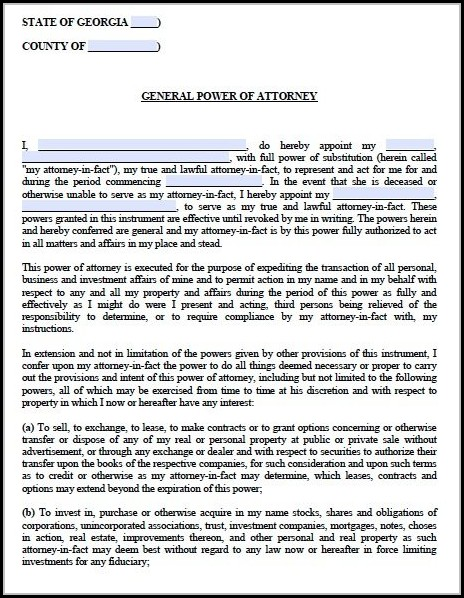 Georgia Power Of Attorney Form
