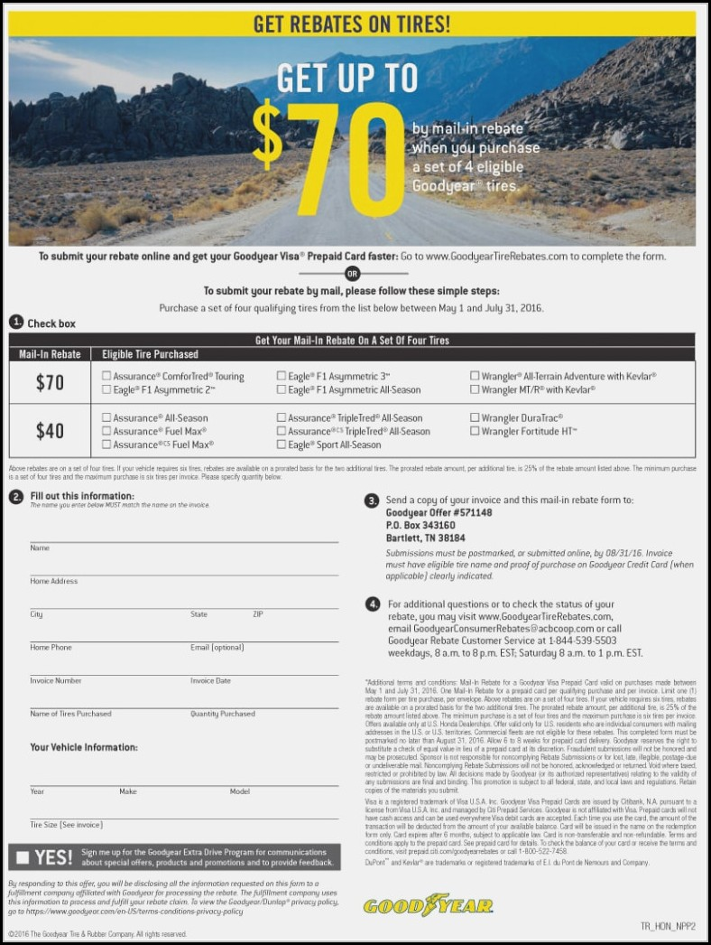 Goodyear Tire Rebate Form