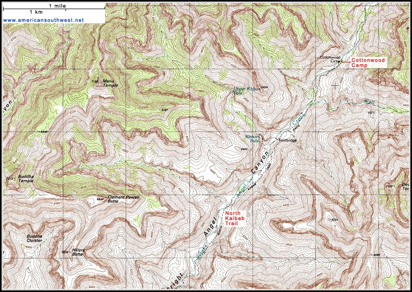 Grand Canyon National Park Topographic Map