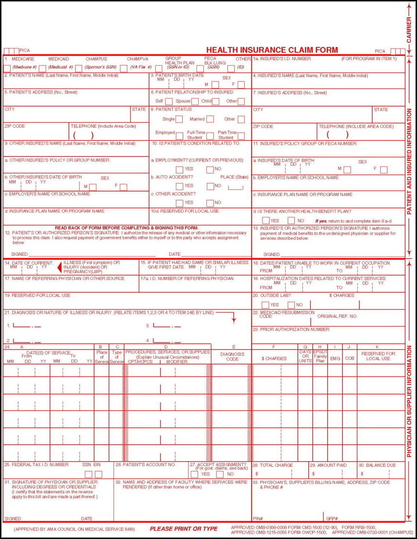 Hcfa 1500 Claim Form Instructions