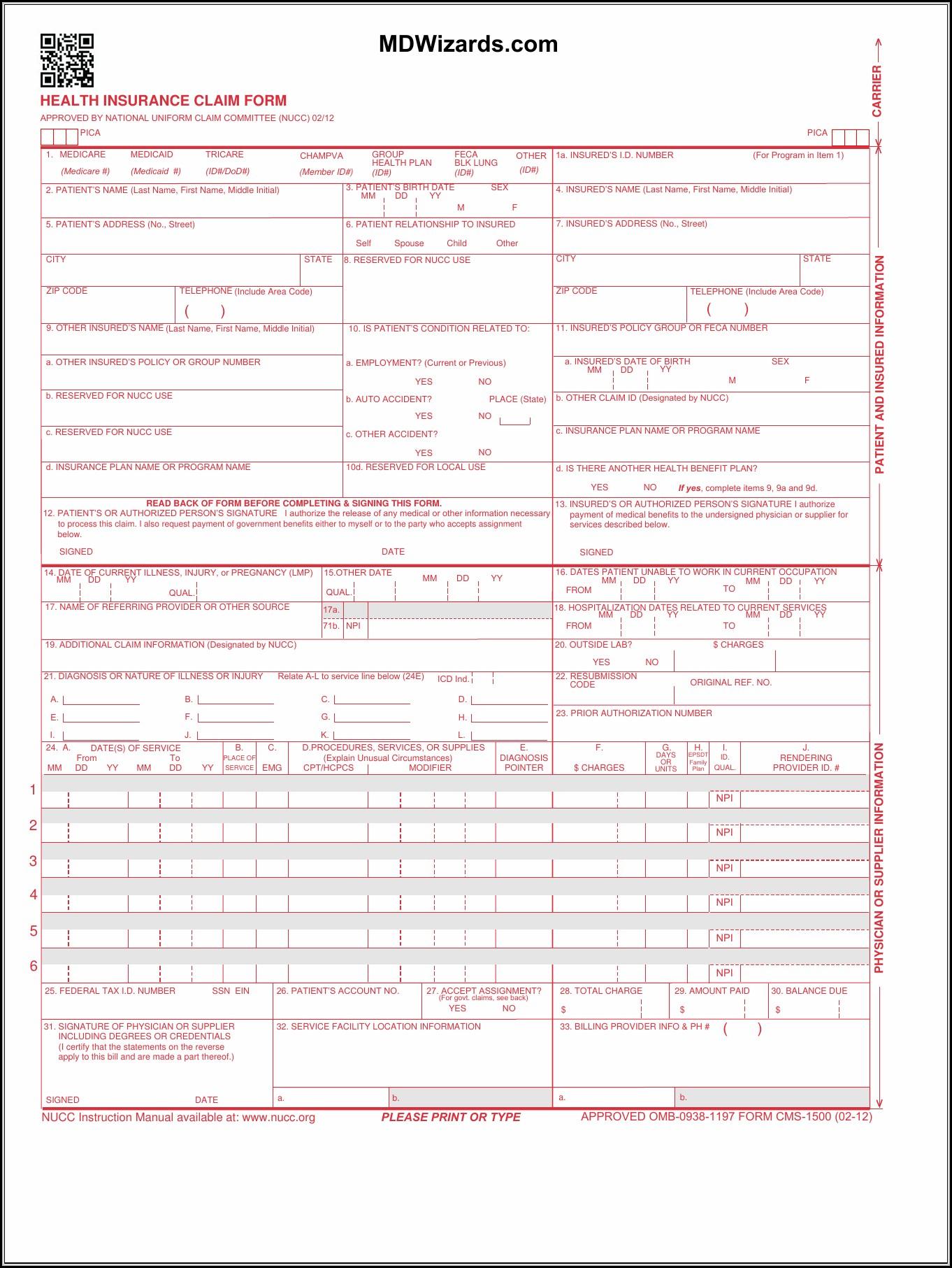 Hcfa 1500 Claim Form Pdf