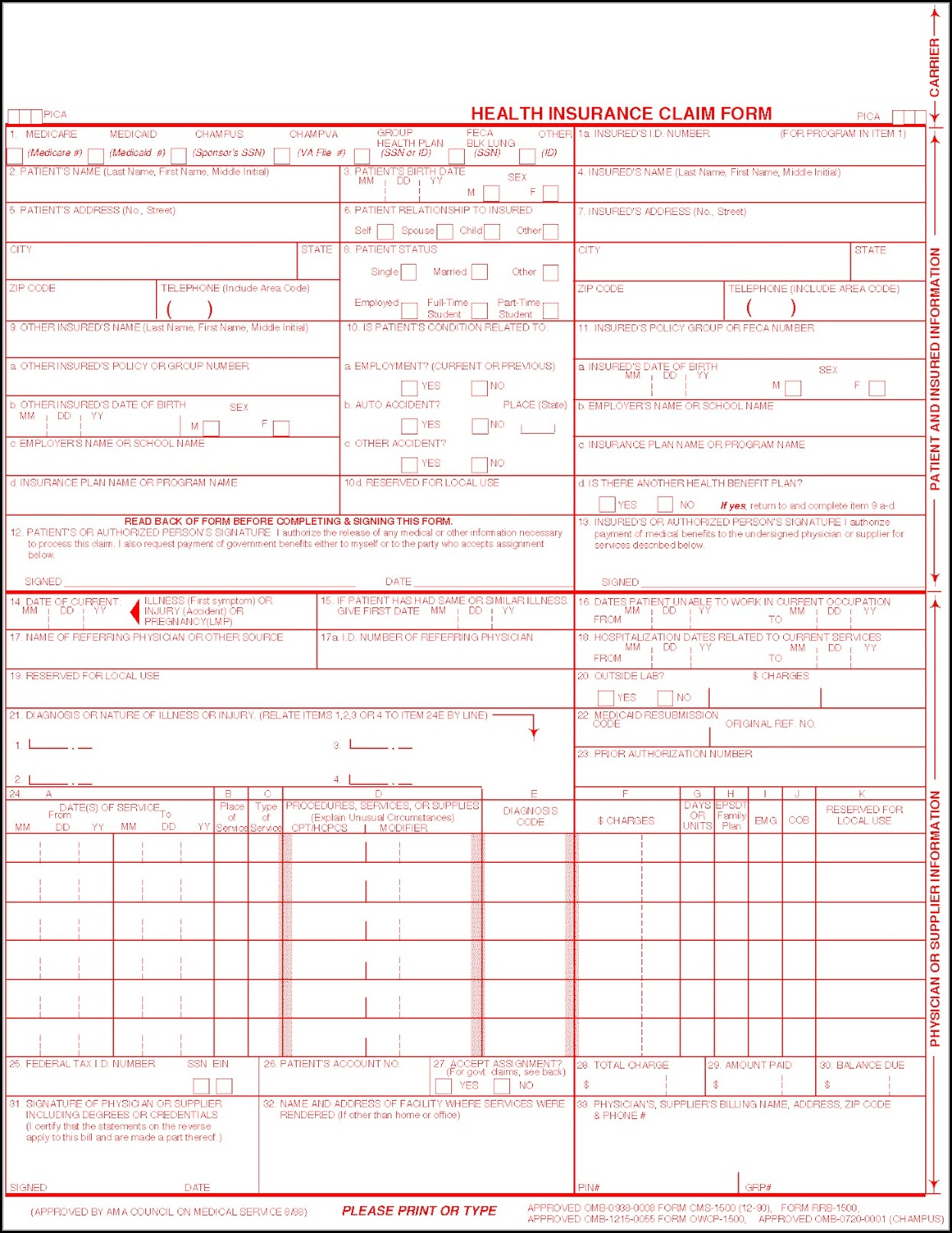 Hcfa 1500 Claim Form Place Of Service Codes