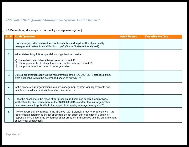 Iso 9001 Audit Checklist Template