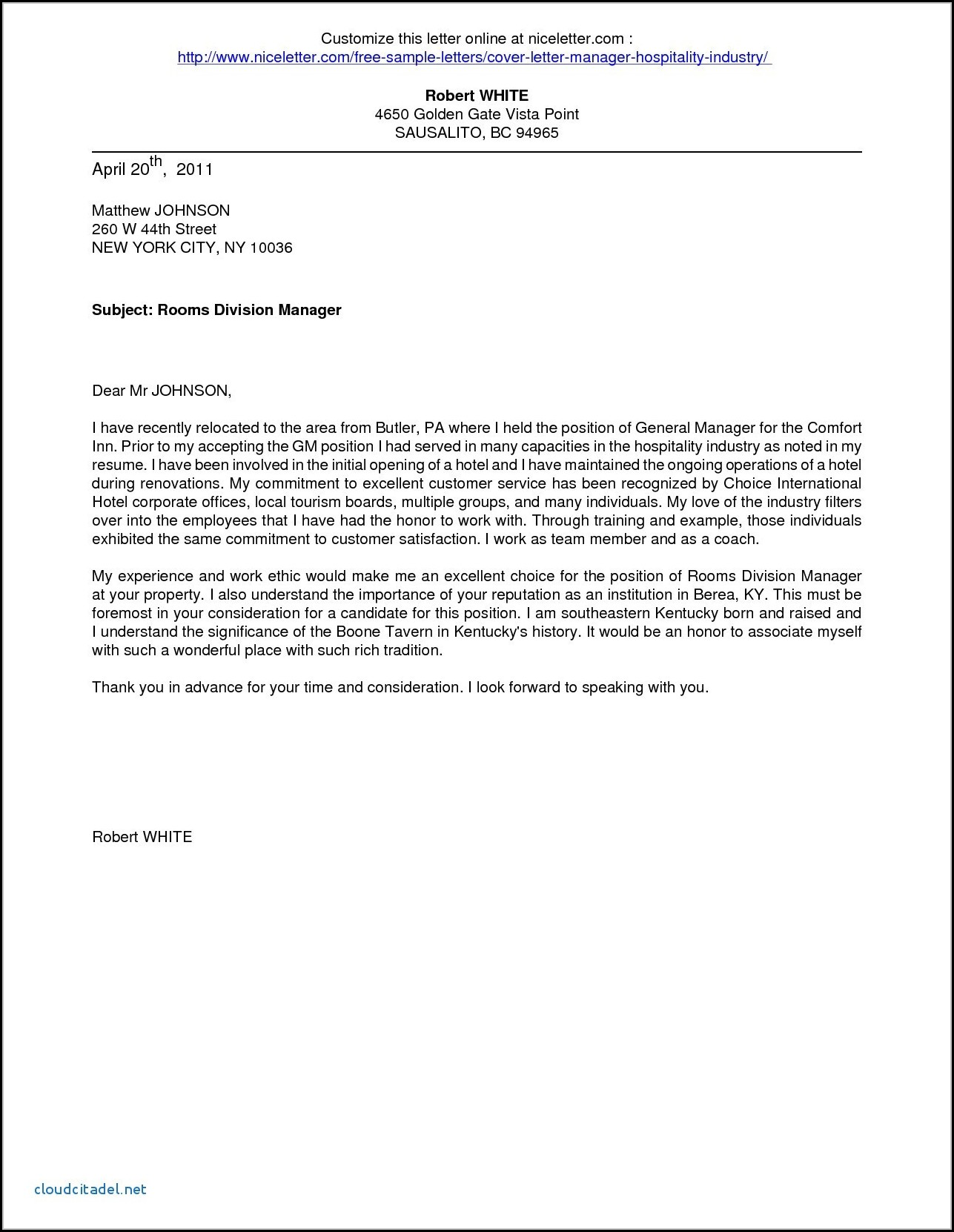 Job Application Letter For Hotel And Restaurant Management