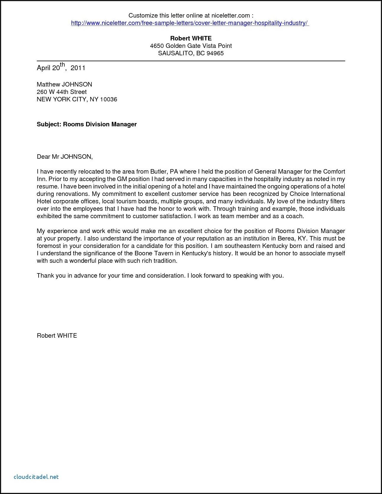 Job Application Letter For Hotel And Restaurant