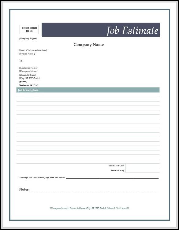 Job Estimate Forms