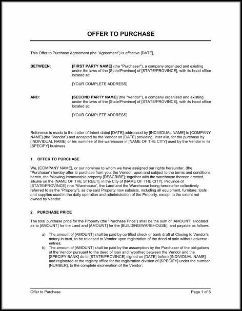 Land Purchase Proposal Template