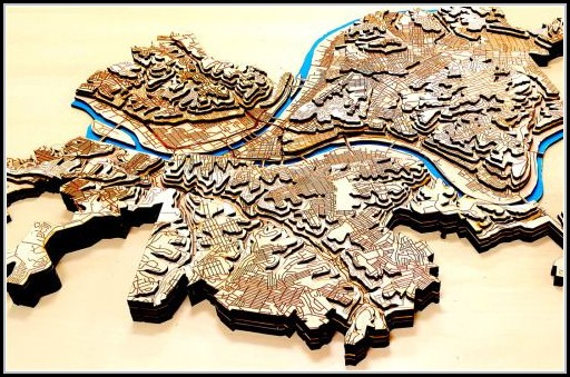 Laser Cut Topographic Maps