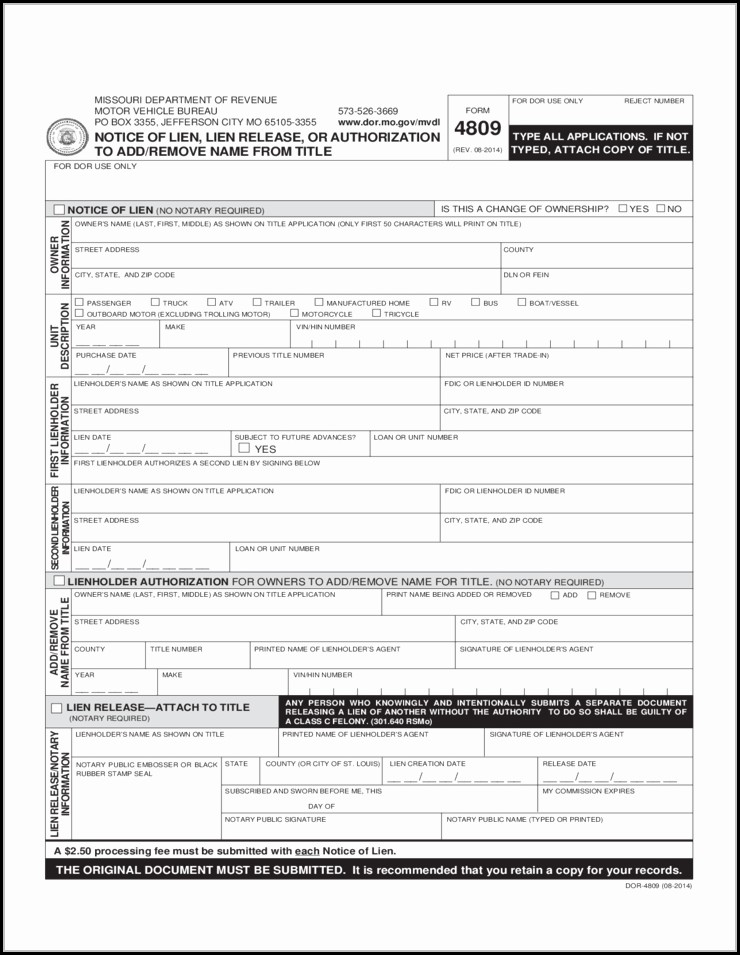 Lien Waiver Form Missouri Pdf