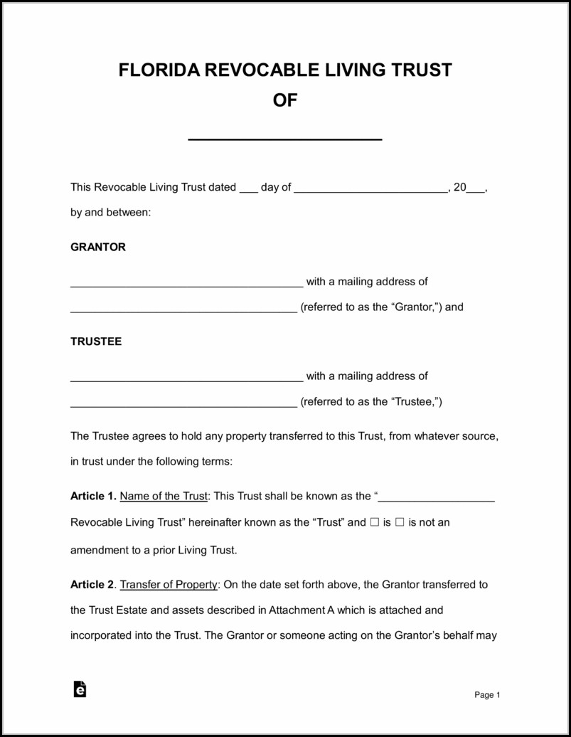 Living Revocable Trust Form Free