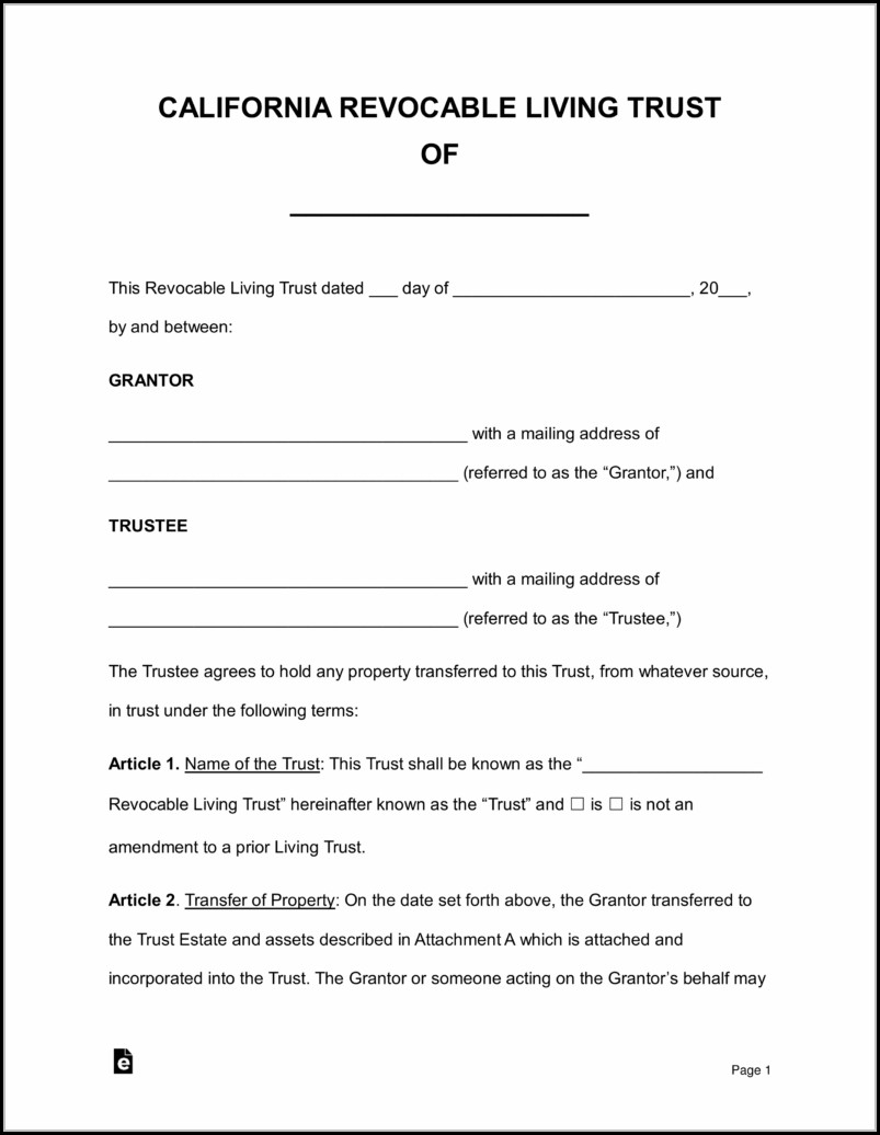 Living Trust Forms California Pdf