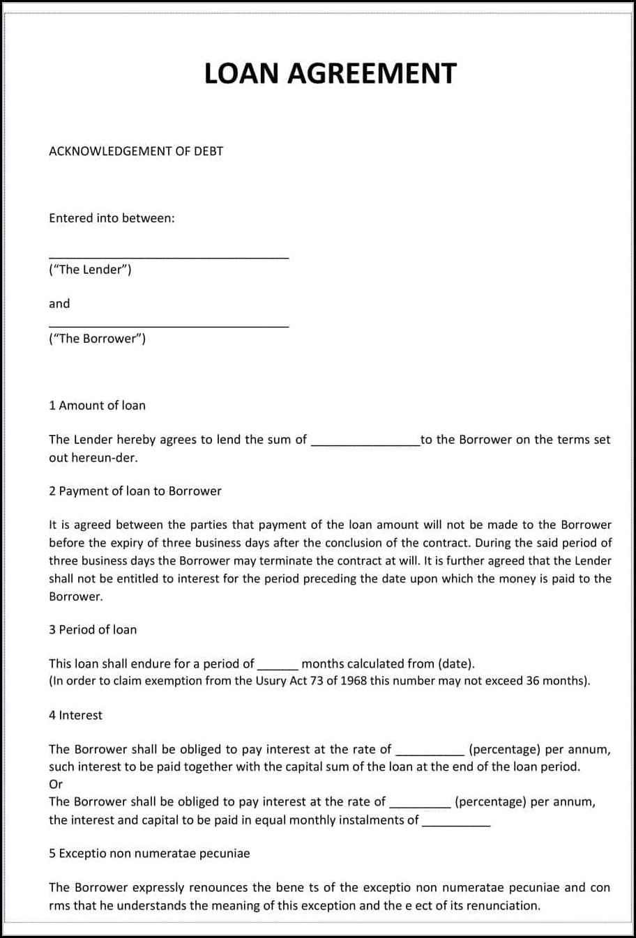Loan Agreement Templates