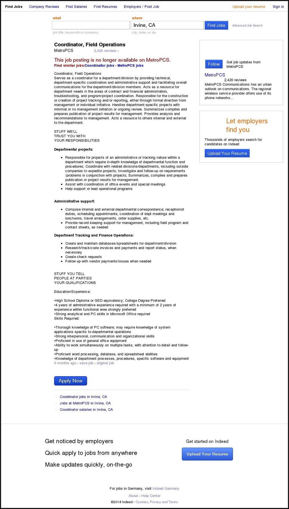 Metropcs Jobs Applications