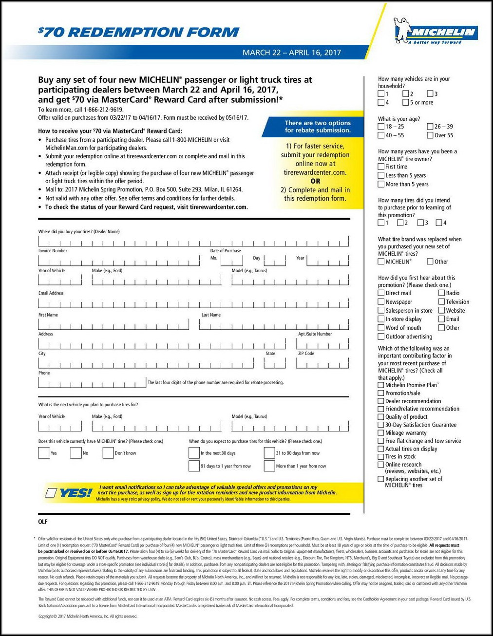 Michelin Rebate Form Pdf 2018