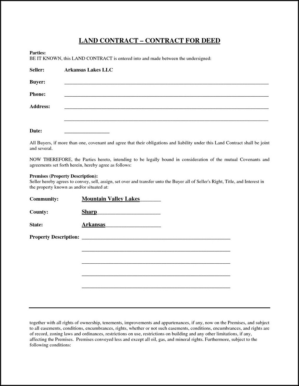 Michigan Land Contract Form 2020
