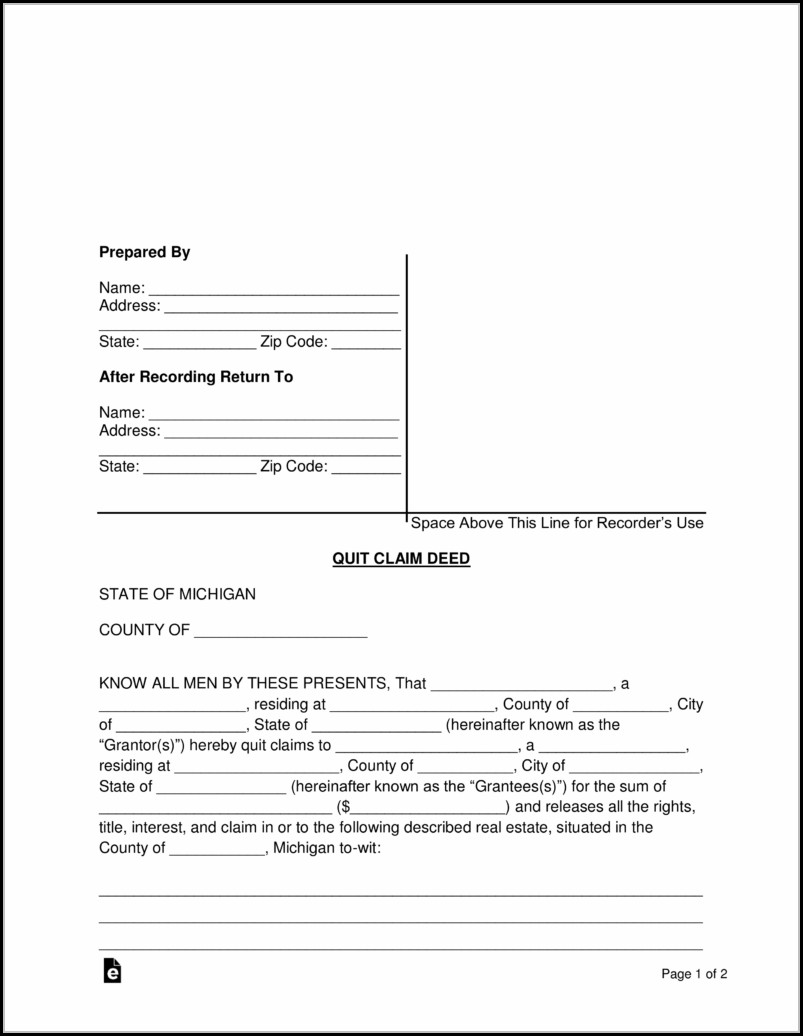 Michigan Quit Claim Deed Form Pdf