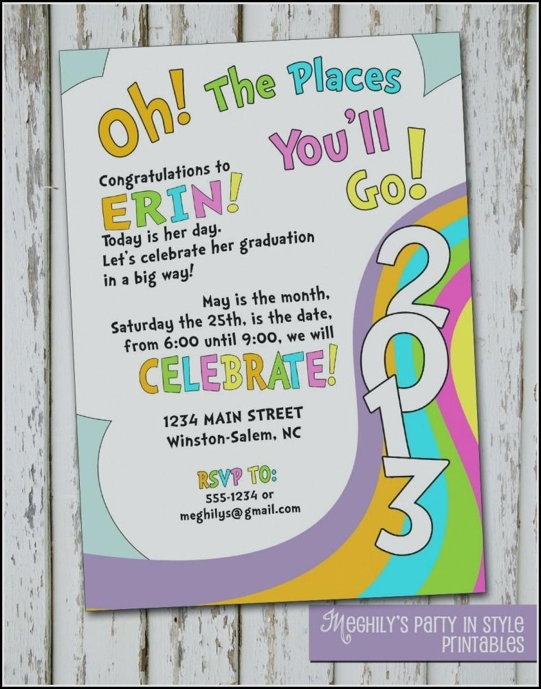 Oh The Places You'll Go Invitation Template Free