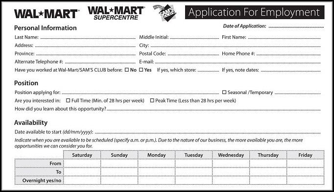Online Walmart Job Application