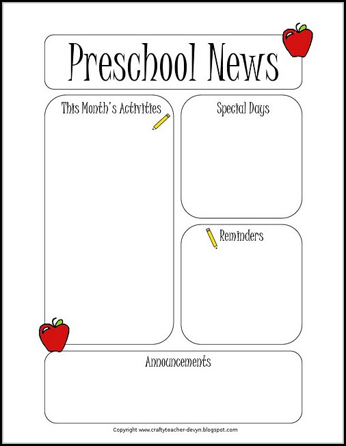 Pre K Newsletter Template Free