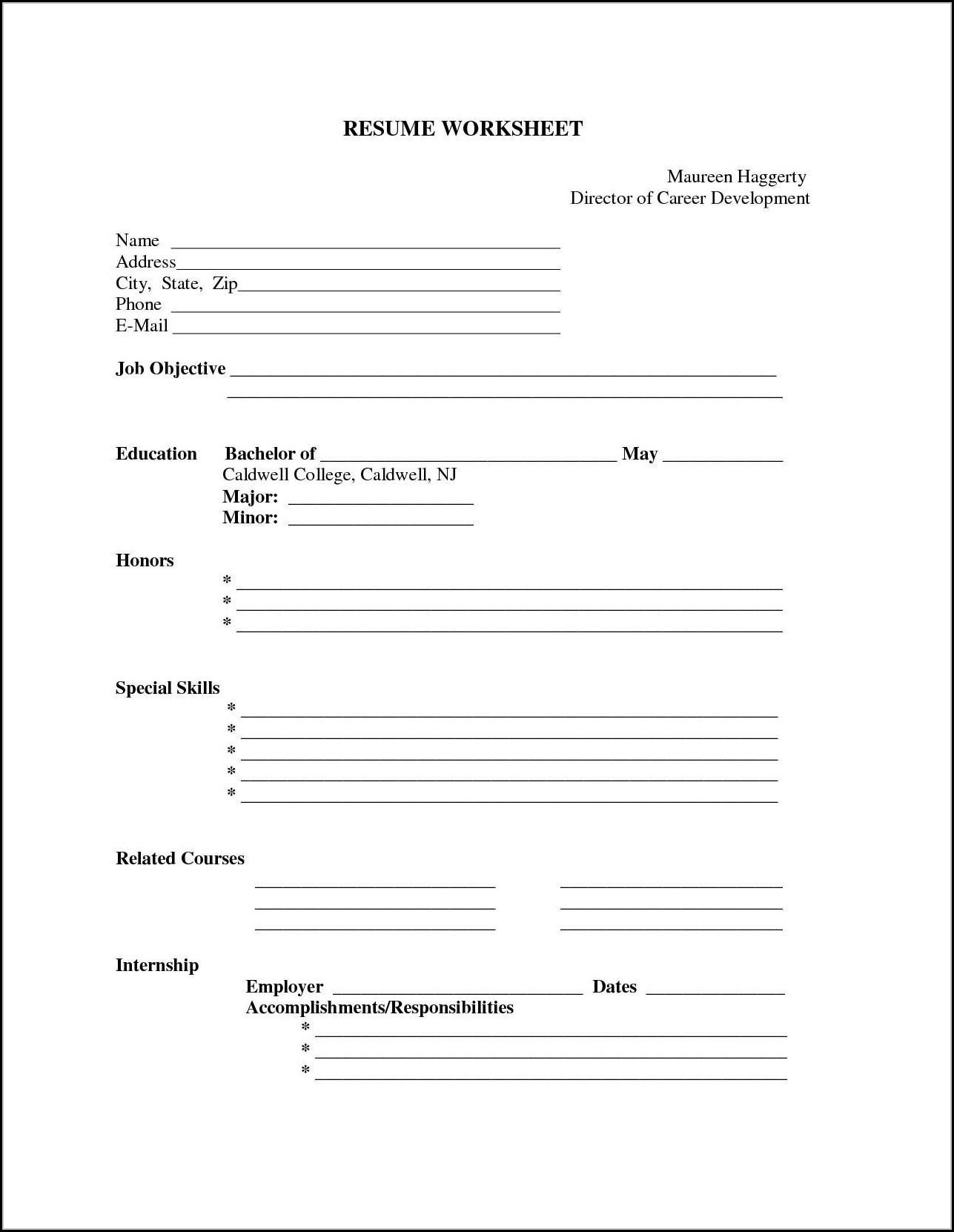 Printable Blank Resume Templates