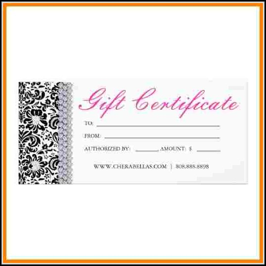 Printable Salon Gift Certificate Templates