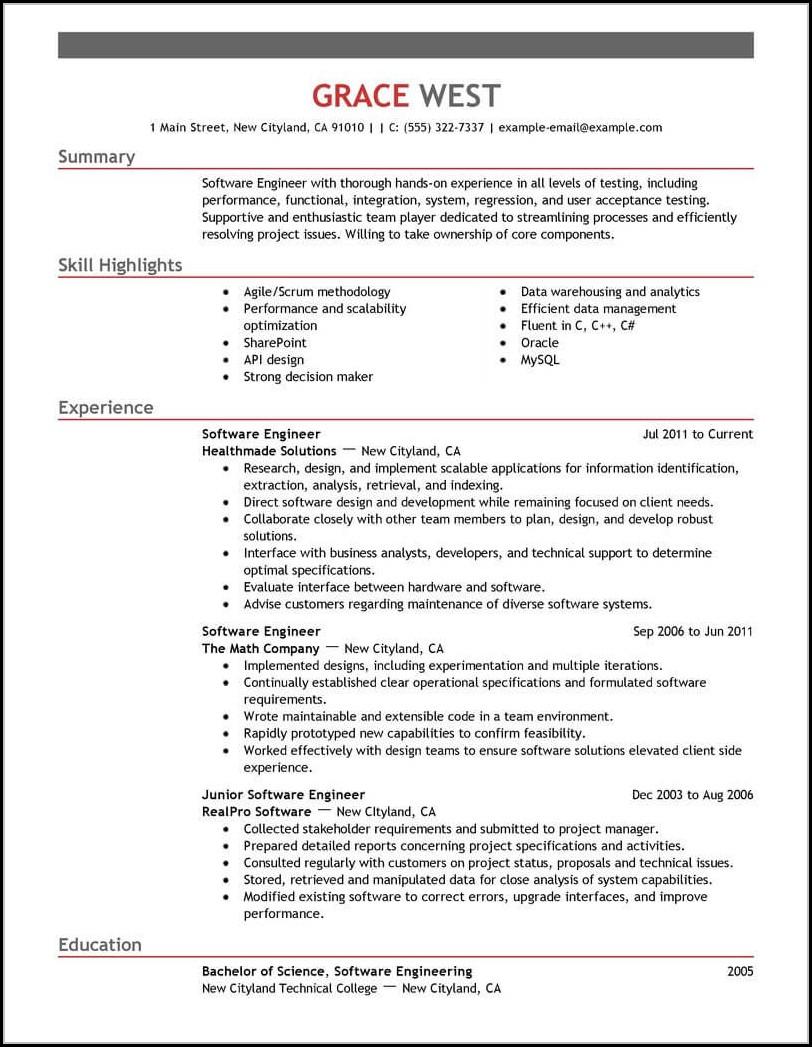 Professional Software Engineer Resume