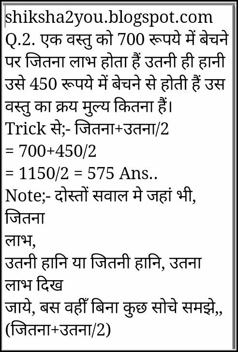 Profit Loss Formula In Hindi